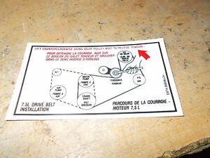 1988 1989 1990 Ford F250 F350 F450 F550 Econoline 7 5l 460 Belt Routing Decal Ebay
