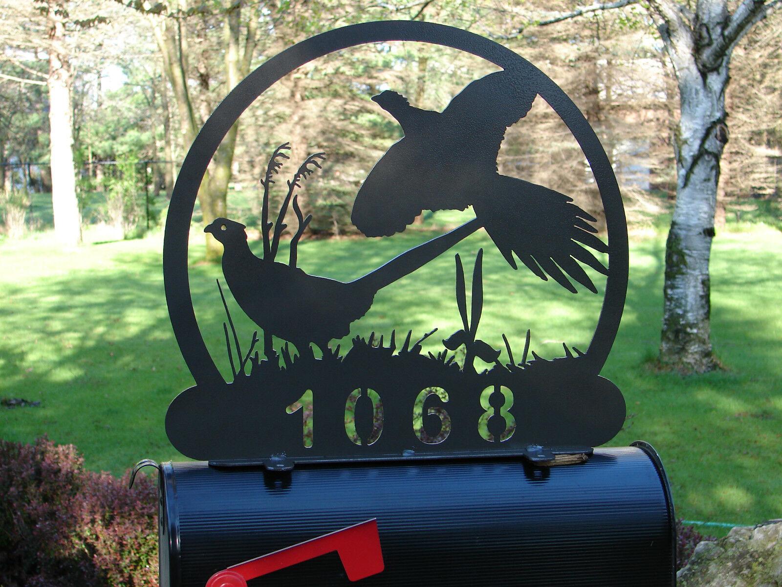 Pheasant MAILBOX TOPPER Address Home Metal Wilderness