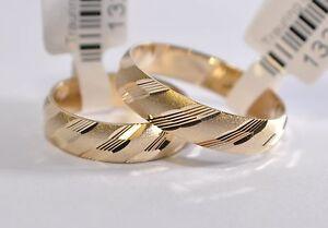 Details Zu 1 Paar Gold 585 Trauringe Eheringe Hochzeitsringe Mit Blitzendem Muster B 5mm