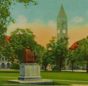 Quadrangle-And-Library-Tower-Cornell-University-Ithaca-NY-Linen-Vintage-Postcard