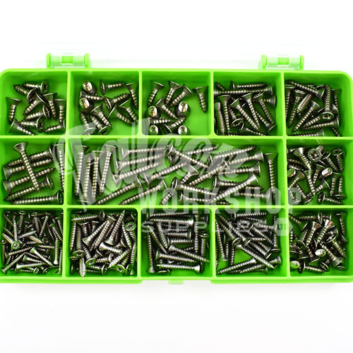410 PIECE A2 STAINLESS 2g 4g 6g 8g POZI COUNTERSUNK SELF TAPPING SCREWS KIT