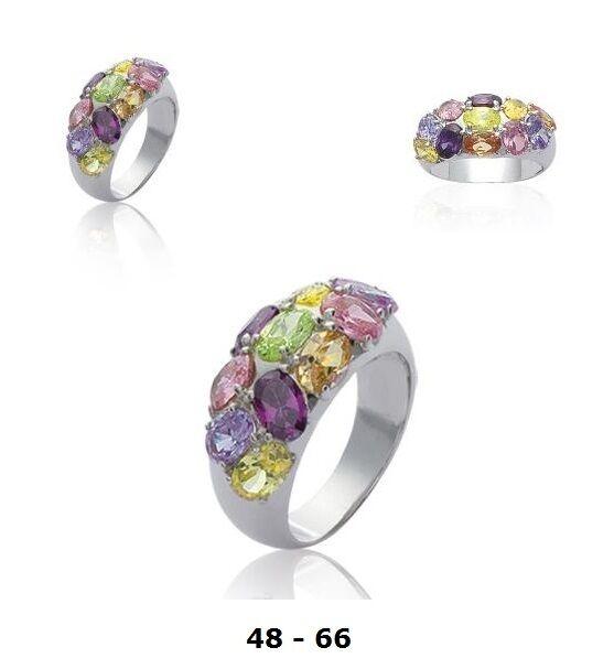 Bague Rhodié T58 de 11 Diamant Cz Multicolor silver Massif 925 Dolly-Bijoux