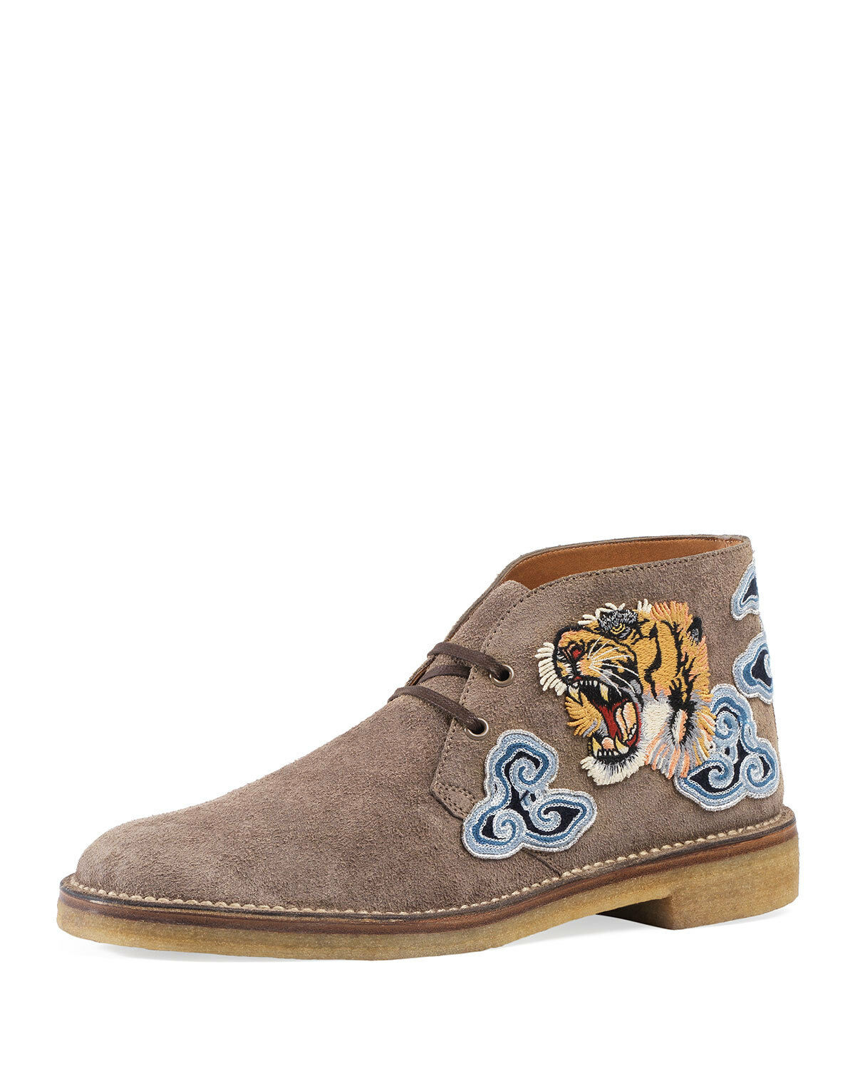 New Gucci New Moreau Suede Suede Tiger Appliqu's Chukka Boots 8.5UK/9.5US Brown