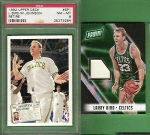 Details About Larry Bird Worn Jersey Card D49 Bird Magic Johnson Sp1 Psa 8 Nm Mint Celtics