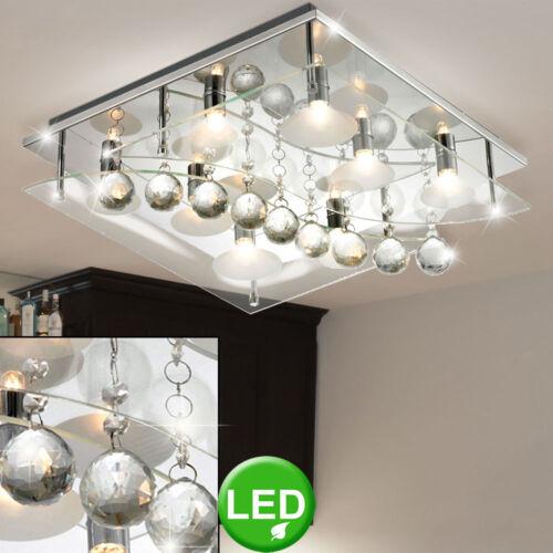Kristall Glas Decken Leuchte Chrom Gästezimmer quadratisch LxBxH 400x400x135 mm