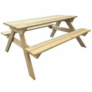 vidaXL Table de Pique-nique Bois FSC Table de Jardin Terrasse Meuble ...