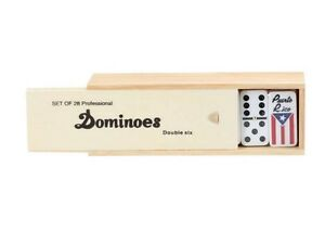 Dominoes Double 6 Six Professional Size Wood Case 28 Pcs Puerto Rico Edition New