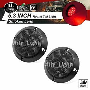 2-pcs-12-LED-Red-Smoked-Lens-4-034-Round-Mount-Brake-Stop-Boat-Truck-Tail-Light-12V