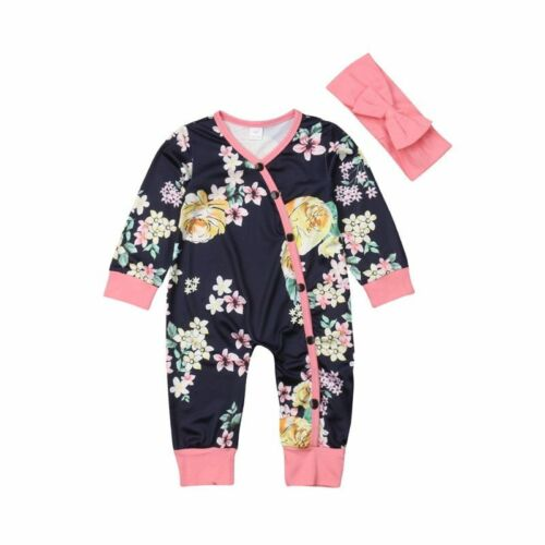 Pink Blue Newest Newborn Toddler Baby Girls Floral Long Sleeve Rompers Jumpsuit