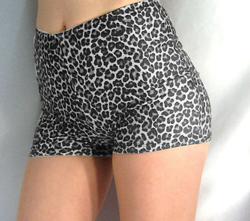 Stile Retrò Spandex a vita alta shorts hot pants leopardati Nero Bianco