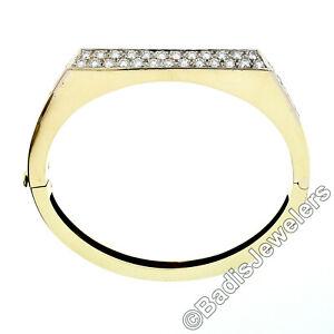 Vintage-18K-Gold-VVS-F-4-50ct-Diamond-Geometric-Hinged-Statement-Bangle-Bracelet