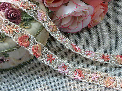 Peach  Embroidered Lace Trim 1.5 cm wide #6OE7B 1metre