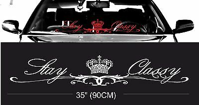 """White 2x Stay Classy Car Stickers Decals Design Front Windshield Banner JDM 24/"""""""