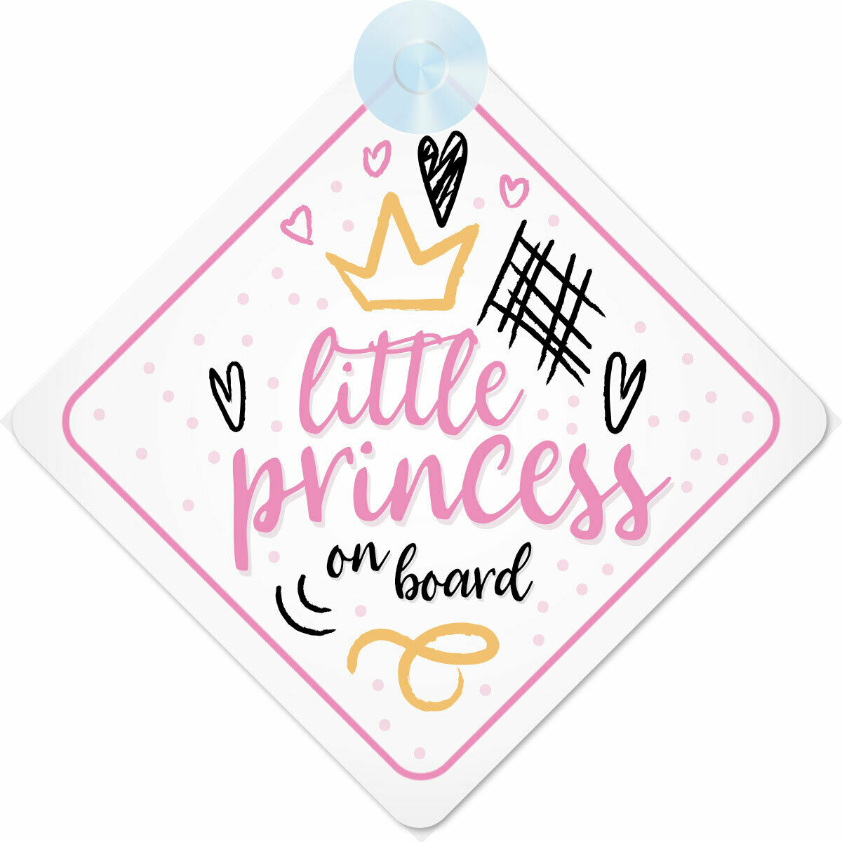 Crown Princess Lottie On Board Personalised Baby Girl Car Sign