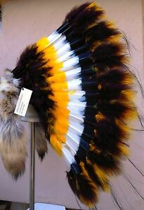Genuine-Native-American-Navajo-36-034-Indian-Headdress-WINDSONG-TRADITIONAL-Coyote