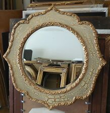 "Large Ornate Hard Resin ""32"" Round Beveled Framed Wall Mirror"