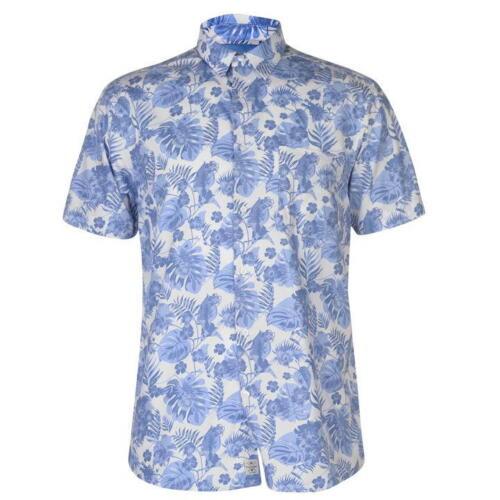 Da Uomo Designer Pierre Cardin Elegante Casual Blu Manica Corta Camicia Taglia S-XXXL