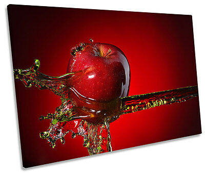Red Apple Splash Kitchen SINGLE CANVAS WALL ART Box Framed