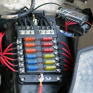 Scatola-LED-Fusibili-A-12-Vie-Con-Portafusibili-Fusibili-A-Lama-Universale-Auto