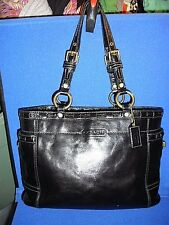 Authentic Coach Black Patent Leather Laced Gallery Tote #11500~Excellent!