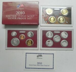 Original box 2010 United States Mint Silver Proof 14 Coin Set with box with COA