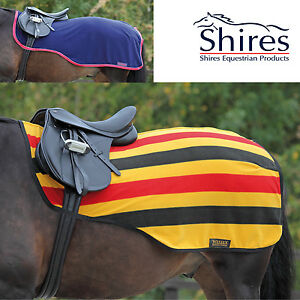 Image Is Loading Shires Fleece Exercise Sheet Newmarket Stripe Or Navy