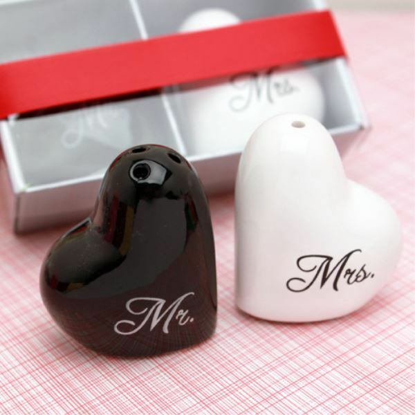 Ceramic Heart Mr And Mrs Salt  Pepper Shakers Wedding Favor