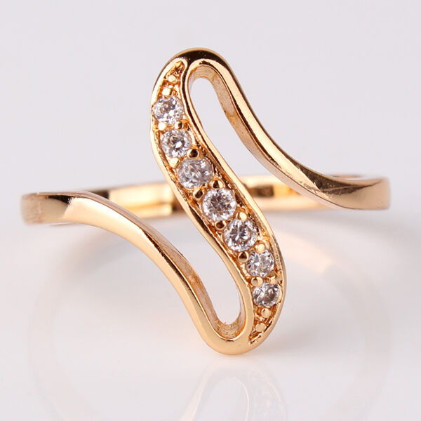 Unbelievable Gift 18k gold filled white sapphire crystal Promise ring Sz5-9/J-R