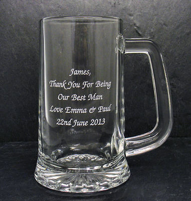 Personalised Engraved Glass Tankard Wedding Father Of The Bride Free Gift Box RH