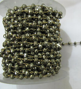 3-Feet-AAA-Quality-Natural-Pyrite-Beaded-Chain-Rosary-Style-Vermeil-Pyrite-Chain