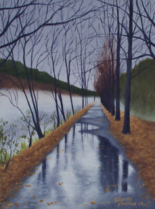Original Acrylic Painting of Rainy Path Study 9x12 Landscape by Timothy Stanford