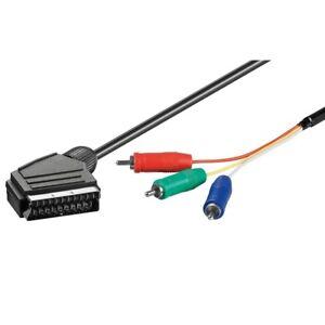 1-Meter-Skart-Scart-Kabel-Adapter-Stecker-auf-3x-Cinch-Chinch-YUV-RGB-Component