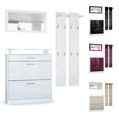 garderobenset wardrobe panels shoe cabinet mirror loret mini white high gloss ebay