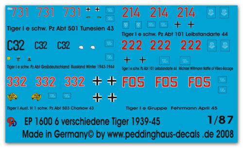 Peddinghaus  1/87 1600 Tiger No 4 6 different Tiger Tanks 1943-45