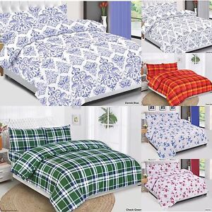 Cotton-Quilted-Duvet-Cover-Set-Bedding-Set-With-Pillow-Cases-amp-Fitted-Sheet