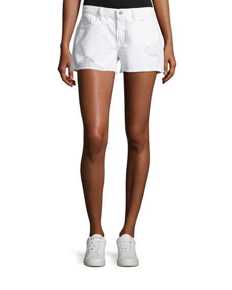 FRAME Le Grand Garcon Denim Shorts Size 23 white Albion