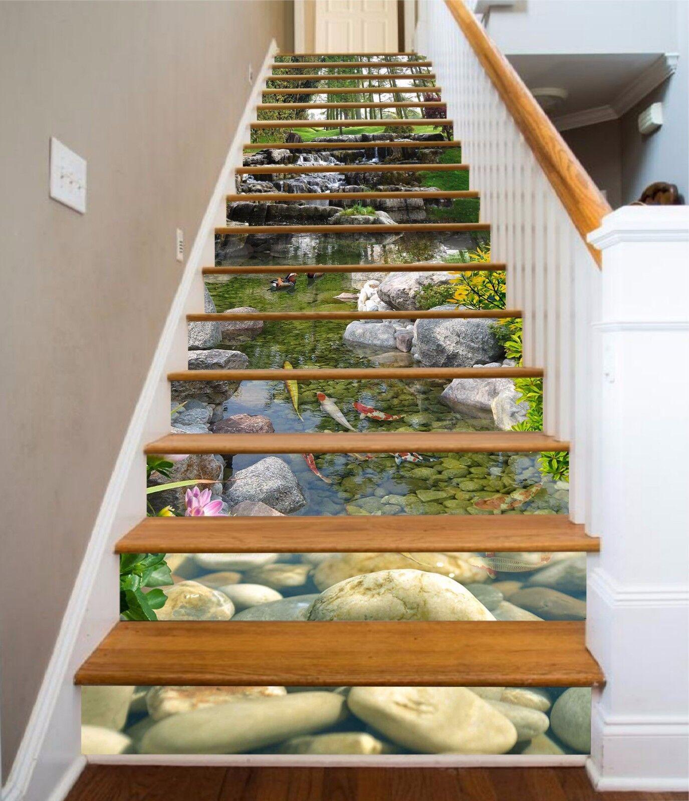 3D Fish Lake 076 treppes aufsteher dekoration foto Mural Vinyl abziehbild wandpaper US
