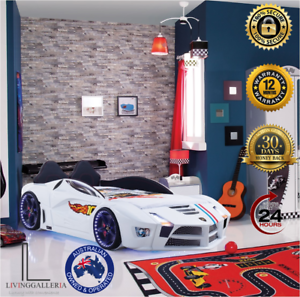 Details about New Luxury Kids White Race Car Bed LED Lights with Sound  Effect Free Delivery