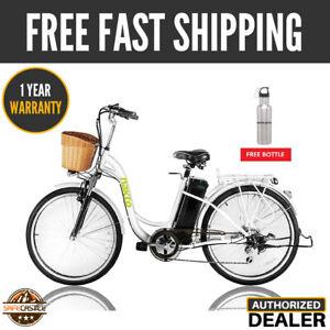 "Nakto 26"" 250W City Electric Bicycle 36V10A Lithium Battery Bike - CAMEL F White"