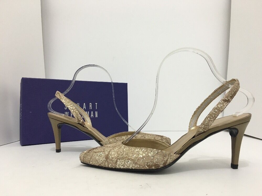Stuart Weitzman Sashamid Women's Heels Pointed Toe Pumps Natural Sugar Lace 7.5