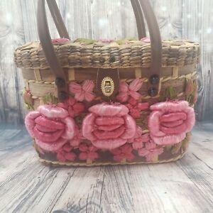 Vintage Floral Embellished Rattan Bag Slight Damage