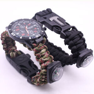 Outdoor-Survival-Watch-Bracelet-Paracord-Compass-Flint-Fire-Starter-Whistle-New
