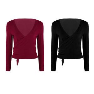 Womens-Dance-Wrap-Tie-Top-Long-Sleeve-Crop-Top-Shrug-Cardigan-Ballerina-Sweater