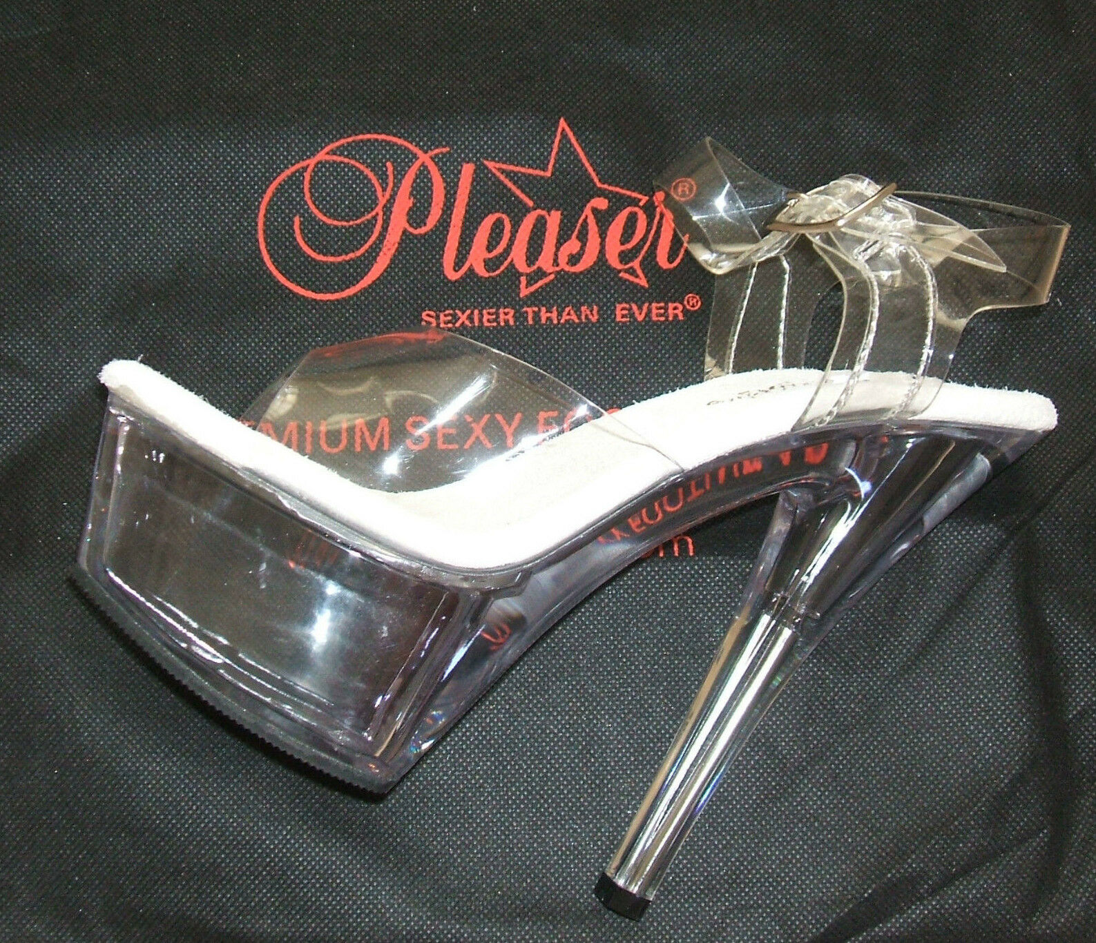 PLEASER SIZE 2.5 SMALL 3 EU KISS FETISH 208 CLEAR PERSPEX SEXY FETISH KISS POLE DANCER SHOES 947505