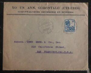 1928 Gorontalo Niederlande Indies Gewerblicher Abdeckung zu San Francisco Ca USA