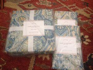 3pc-NWT-Pottery-Barn-Rosalie-Paisley-Duvet-Standard-Shams-Full-Queen-Blue-New
