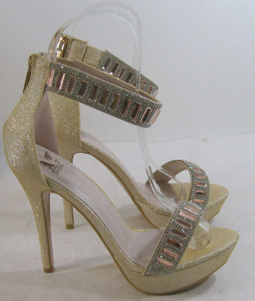 "Champagne 5.5"" Stiletto High Heel Open Toe Ankle Strap Sexy Shoes Size 9"