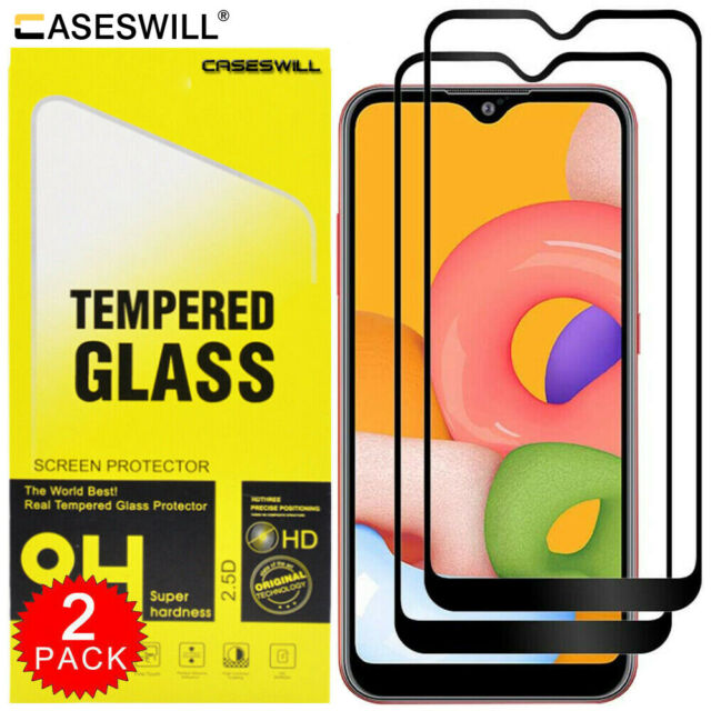 5.7 inch - Black Shock Absorption Soft TPU Drawing Protective Cases Cover for Galaxy A01 ,Teayoha Carbon Fiber Scratch Resistant 2 Pack Samsung Galaxy A01 Case with Tempered Glass Screen Protector