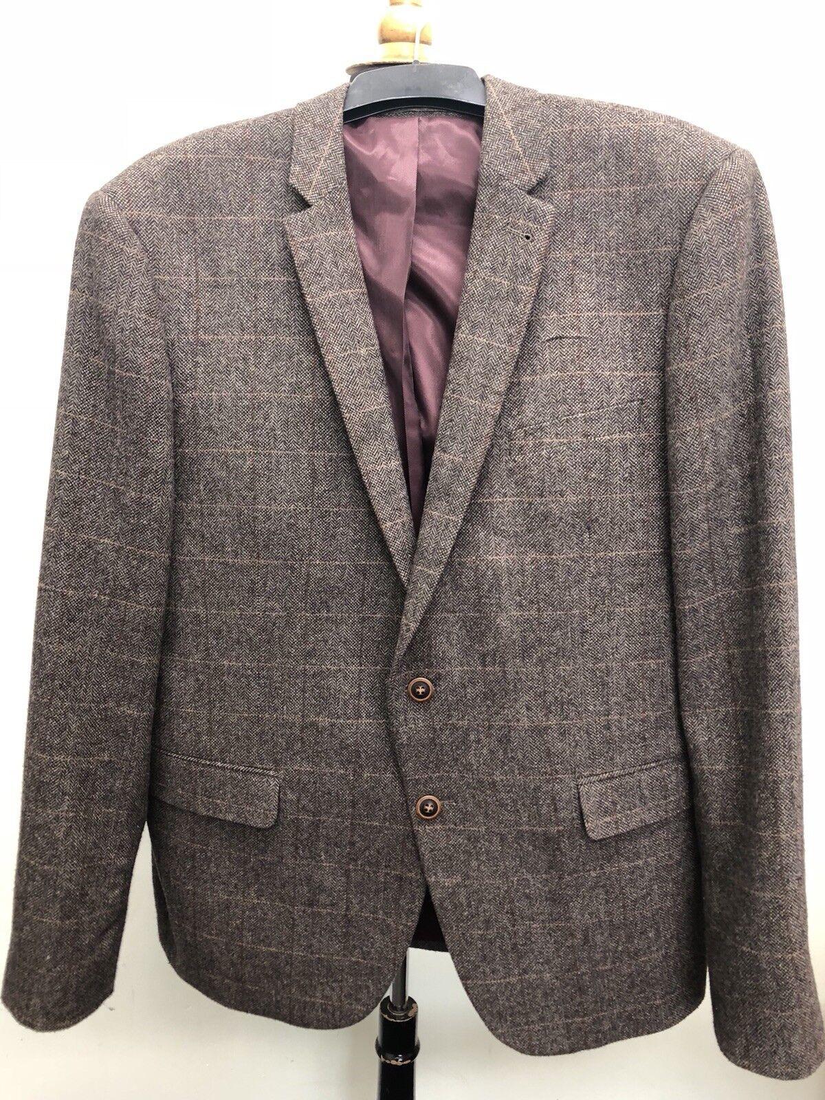 Mens Wool Mix Herringbone Blazer UK XL Slim Fit Chest 112cm