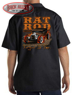 Rat Rod Motorworks Mechanics Work Shirt Biker M-3XL Hot Rat Rod Racing Flames